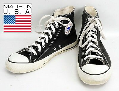 9e3a1ac5f762 Vintage 80 s Black Converse All Star Chuck Taylor High Tops Size 10m Made  In USA