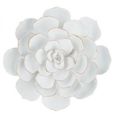 Large White Cactus Flower Resin Wall Decor Floral Home Decor New!