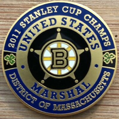 USMS - US Marshals Service BRUINS 2011 Stanley Cup Champs gold version Lapel Pin