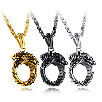 Retro Men's Pendant Titanium Steel Ouroboros Bite Tail Dragon Eternity  Men Neck