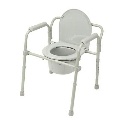 Folding Steel Bedside Commode Portable Transport Senior Toilet Chair Seat Safety