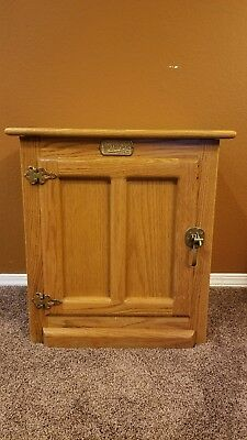 Vintage White Clad Ice Box Cabinet End Table Solid Oak Brass Hardware