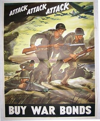 1942 WWII War Bond Poster: Attack, Attack, Attack