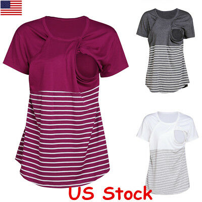 US Women Short Sleeve Maternity T-Shirts Stripe Breastfeeding Nursing Tops New