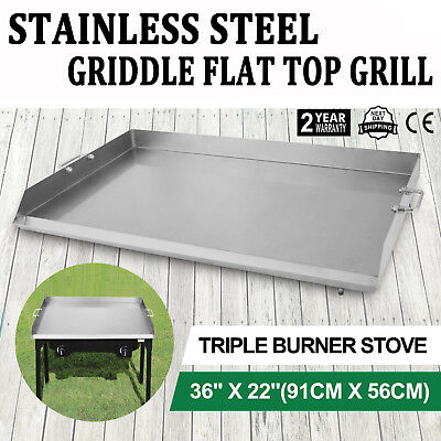 "Griddle Stainless Steel Flat Top 36""x22"" Comal Plancha Outdoor Stove Catering"