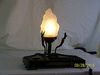 French Art Deco Lamp Bronze Marble Desk Stationary Display Set