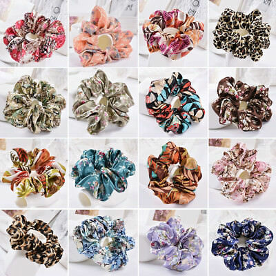 Women Hair Ties Scrunchies Ring Floral Leopard Ponytail Holder Hairband Alluring