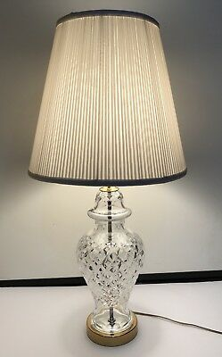 Signed WATERFORD CRYSTAL Table Lamp W/Orig Shade   Lismore, Brass Base