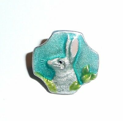 Adorable Hand Painted Ant Repro Aqua Blue Bunny Rabbit Metal Shank Button 5/8""