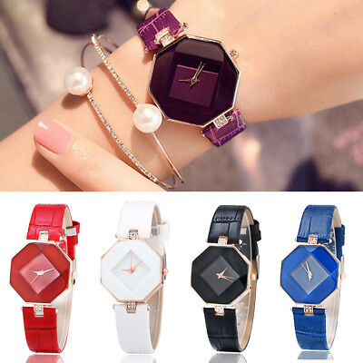 Fashion Luxury Women 's Leather Band Analog Quartz Diamond Wrist Watch Watches