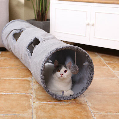 Kitten Cat Tunnel Large 2 Holes Suede Pet Rabbit Play Funny Toys With Ball Grey