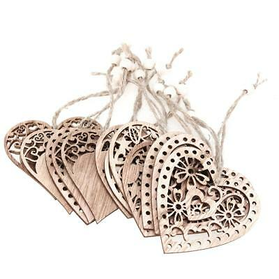 12pcs Hollow Heart-Shape Wood Ornament DIY Wedding Hanging Decor Craft New