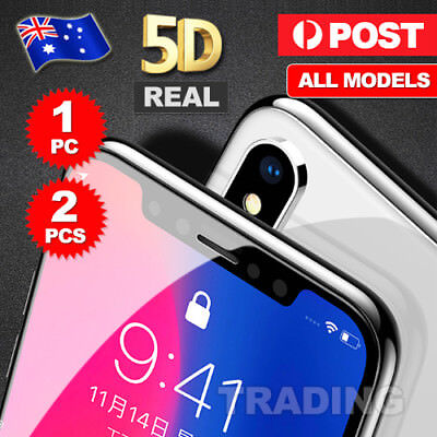 For Apple iPhone X 6s 7 8 Plus - 5D Full Cover Tempered Glass Screen Protector