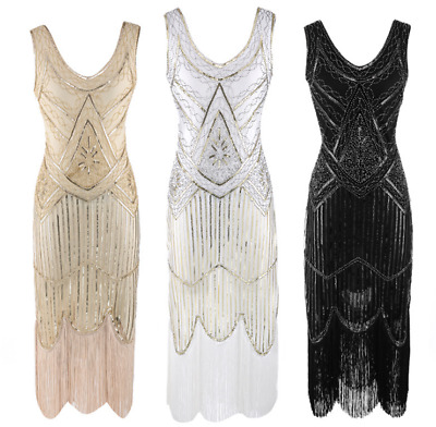 Retro 1920s Flapper Beaded Gatsby Charleston Party Fringe Evening Cocktail Dress