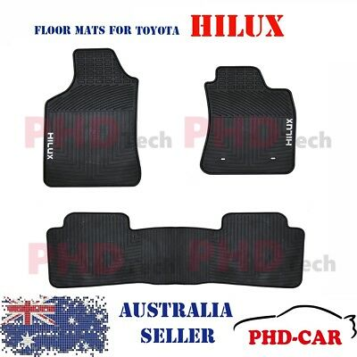 Premium All Weather Rubber Car Floor Mats for Toyota Hilux Dual Cab 2005-2015
