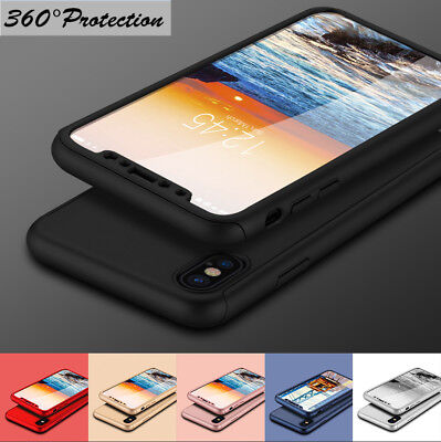 For iPhone XS MAX XR 8 Plus Tempered Glass+ 360° Full Body Case Shockproof Cover