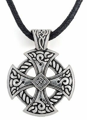 Ancient Celtic Cross Knotwork Thor's Hammer Pendant Irish Necklace for Men Women