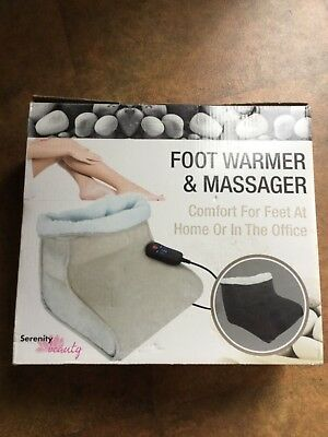 FOOT WARMER AND MASSAGER by SERENITY BEAUTY ~ BEIGE ~ BRAND NEW IN BOX