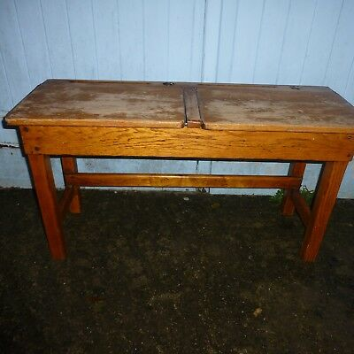 Vintage Child's School Double Desk Wooden With Two Ink wells and lift up lids.