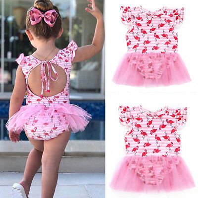 US Kids Baby Girls Toddler Flamingo Swimsuit Swimwear Bathing Suit Bikini Set