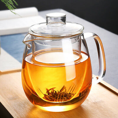 Heat Resistant Glass Teapot with Infuser Coffee Tea Leaf Herbal 600ML-1200ML