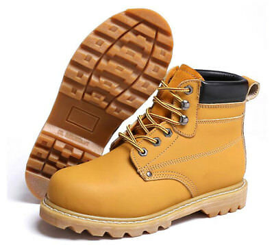 Men's Leather Safety Shoes Steel Toe Anti Puncture & Slip Work & Outdoor Boots