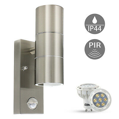 Stainless steel up down outdoor wall light pir security garden lamp stainless steel up down outdoor wall light pir security garden lamp ip44 bulbs mozeypictures Image collections