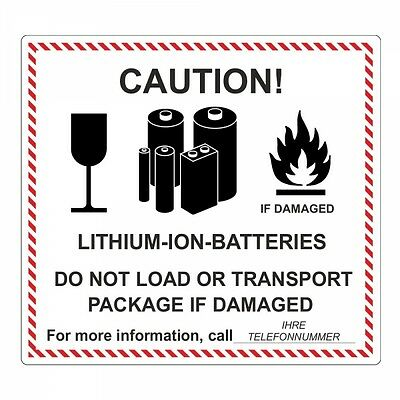 "Sticker "" Lithium-Ion-Batteries "" Incl. Phone - 120 x 110 mm - 100 PC"