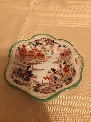 Hand Painted Vintage Porcelain Geisha Girl Japanese small serving dish/Tea bag