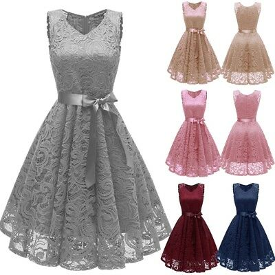 AU Womens 50S 60S ROCKABILLY Lace Vintage Ladies V Neck Evening Prom Swing Dress