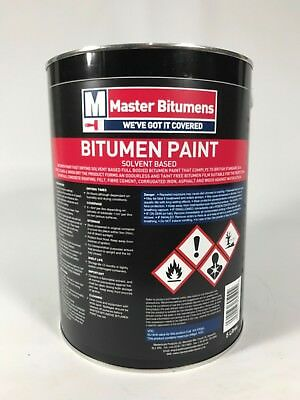 "5 Litre Black Bitumen Paint Waterproof Weatherproof Paint ""free Delivery"""