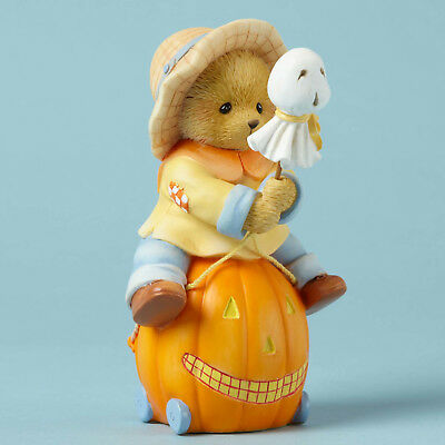 Cherished Teddies Halloween Bear Riding Pumpkin Cart New Sale