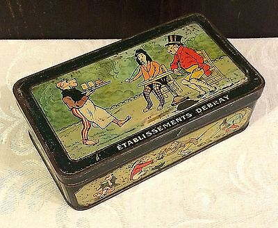 Vintage Debray French Biscuit Tin Box Comical Monkey Theme c 1920s Cafe Scene