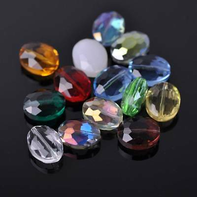 10pcs 16x12mm Flat Oval Faceted Crystal Glass Loose Craft Beads Jewelry Findings