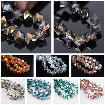 10pcs 10mm Diagonal Hole Cube Square Faceted Crystal Glass Loose DIY Craft Beads