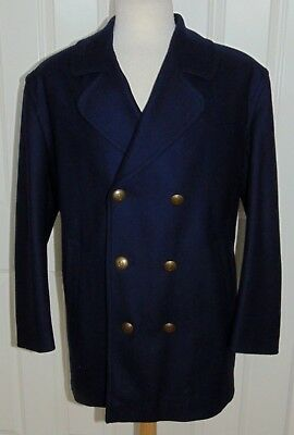 4407750b3 NEW GLOVERALL NAVY Blue Double Breasted Pea Coat Metal Anchor Buttons 42