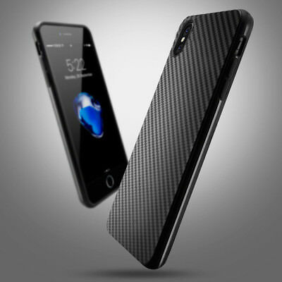 Luxury Carbon Fiber Soft TPU Silicone Thin Case Back Cover for iPhone X UK STOCK