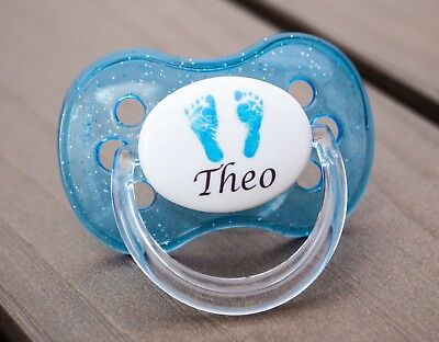 Personalised Dummy Pacifier Soother, All Teats,sizes & Colours, Blue Footprints