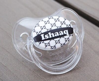 Personalised Dummy Pacifier Soother, All Teats,sizes & Colours, Bb Black