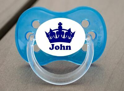 Personalised Dummy Pacifier Soother, All Teats,sizes & Colours, Prince Crown