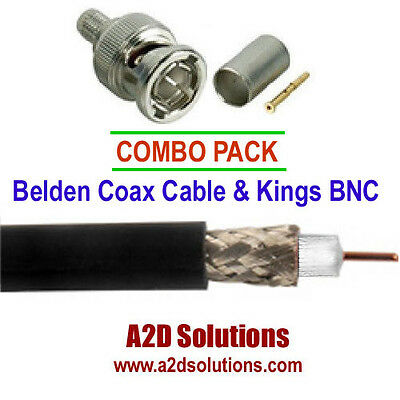 COAX / BNC Combo Pack - 500 ft  Box Belden 1855A Black & 25 Kings BNC Connectors