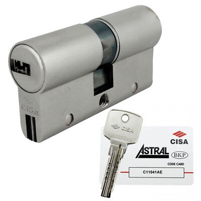 Cisa Astral 10 Pin Restricted BS Euro Double Cylinder 50/50 100mm Nickel