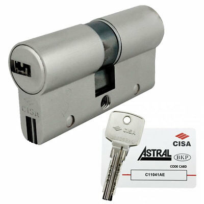 Cisa Astral 10 Pin Restricted BS Euro Double Cylinder 30/50 80mm Nickel