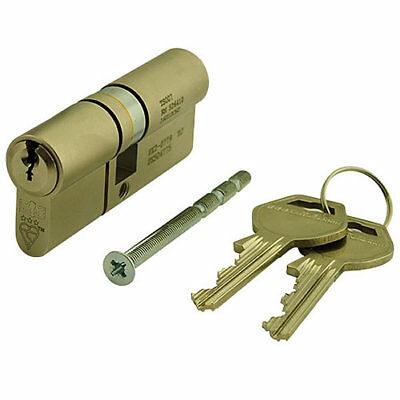 GeGe pExtra Guard 3 StarEuro  Double Cylinder 35/50 85mm Satin Brass
