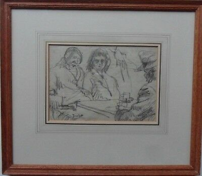 Manner Of Louis Abel-Truchet 1857-1918 Signed Charcoal Drawing 'cafe Scene'