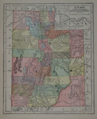 Original 1902 Crowell Map UTAH Indian Reservations Brigham Ogden Provo Coalville