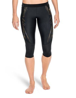 SKINS Womens A400 Compression 3/4 Tights, Black/Gold, X-Large