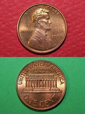 1969 S BU Lincoln Memorial Cent Penny Brilliant Uncirculated Combined Shipping
