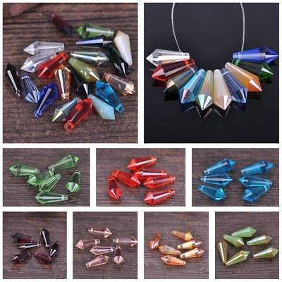 10pcs 8x20mm Teardrop Cone Faceted Crystal Glass Loose Craft Beads Pendants Lots