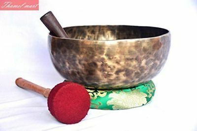 """10"""" Root and Om Chakra Anitque Hand Hammered Tibetan Singing Bowl Made in Nepal"""